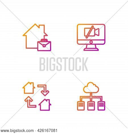 Set Line Online Working, , And Video Camera Off On Computer. Gradient Color Icons. Vector