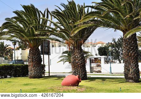 A Meadow With Green Grass And A Red Jar, Three Palm Trees And White Houses With Orange Roofs Behind