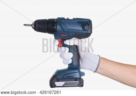 Master In Glove Holds A Drill With Drill On White Background