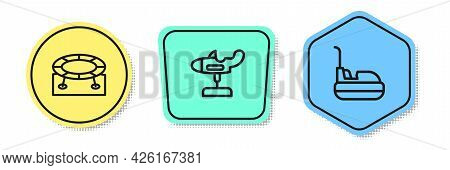 Set Line Jumping Trampoline, Swing Plane And Bumper Car. Colored Shapes. Vector