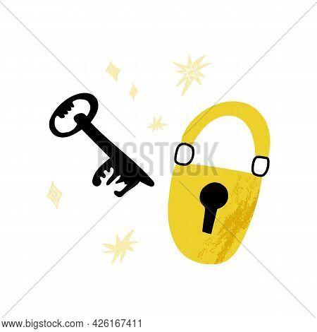 Cute Cartoon Key And Lock, Romantic Match Or Eureka Symbol. Magic, Mystical, Esoteric, Mysterious Ve