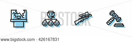 Set Line Sniper Rifle With Scope, Broken Window, Mafia And Judge Gavel Icon. Vector