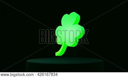 Green Glowing Three-leaf Clover On Black Background, St.patrick 's Day, 3d Render