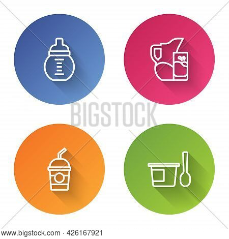 Set Line Baby Milk In A Bottle, Milk Jug Or Pitcher And Glass, Milkshake And Yogurt Container With S