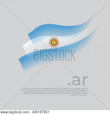 Argentina Flag Watercolor. Stripes Colors Of The Argentinian Flag On A White Background. Vector Styl