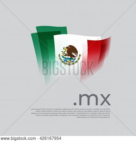 Mexico Flag. Vector Stylized Design National Poster On A White Background. Mexican Flag Painted With