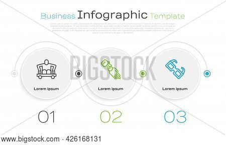 Set Line Man Without Legs Sitting Wheelchair, Prosthesis Hand And Eyeglasses. Business Infographic T