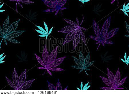 Seamless Fluorescent, Neon Modern Medical Cannabis, Marijuana Pattern. Colorful Hand Drawn Weed Cont
