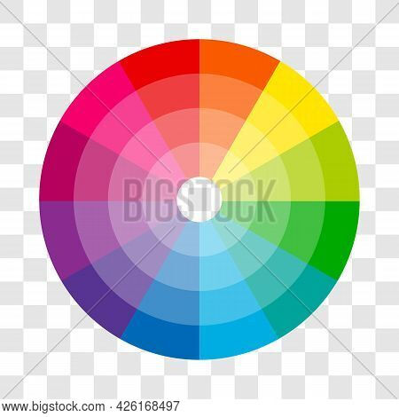 Color Wheel Isolated Circle On Transparent Background Vector Illustration