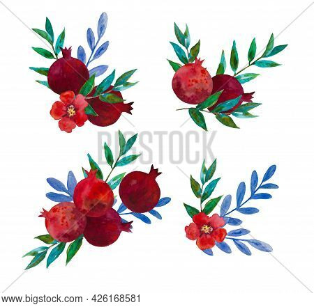 Original Watercolor Compositions Of Garnet Flowers And Pomegranate Fruits For Decor, Wedding Invitat