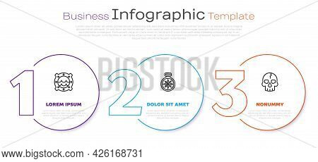 Set Line Ship Porthole With Seascape, Compass And Skull. Business Infographic Template. Vector