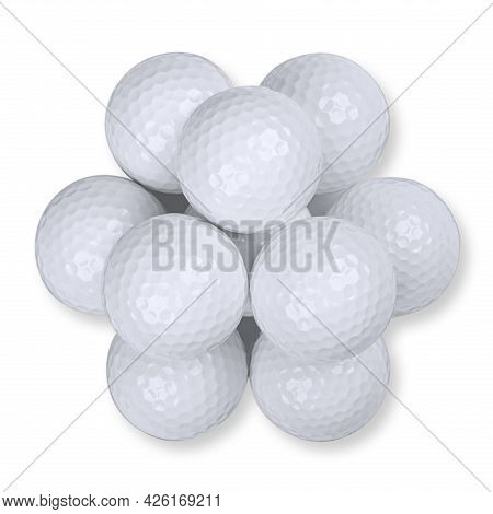 Golf Balls Stacked In Pyramid Shape, From Above, On White Background. A Pile Of Ten White American G