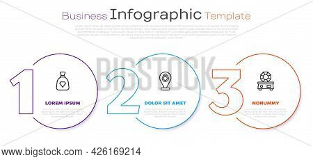 Set Line Bag With Gems, Jewelry Store And Gem Stone. Business Infographic Template. Vector
