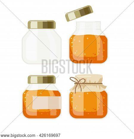 Orange Color Jam Bank Set. Canned Fruit Or Berries. Preserved Fruit In Glass Jars Set Vector Illustr