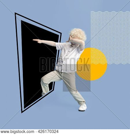 Art Collage. One Little Albino Boy Enters Inside A Black Square On Gray Background. Lines And Waves,
