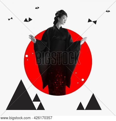 Yong Asian Woman In Ethnic Japanese Clothing On Red Circle Over White Background. Art Collage, Creat