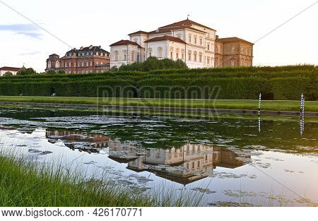 Venaria Reale, Piedmont, Italy. July 2021. Amazing View Of The Palace Seen In Three Quarters At The