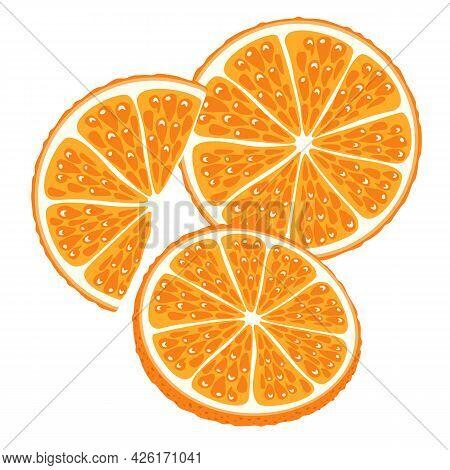 Set Of Parts Of Orange, Tangerine. Half, Slice And Wedge Of Orange Fruit Isolated On White Backgroun