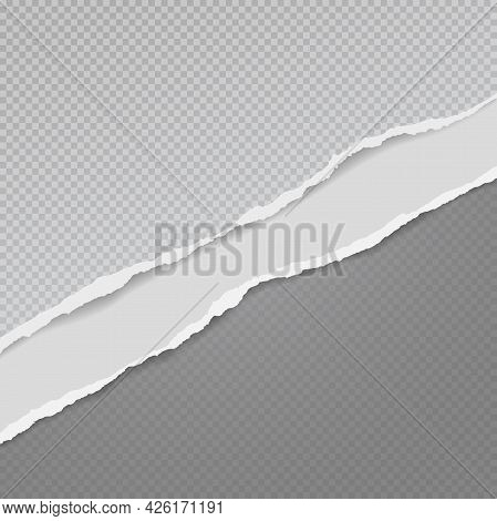 Torn, Ripped Dark Grey Paper Strips With Soft Shadow Are On Squared Background For Text. Vector Illu