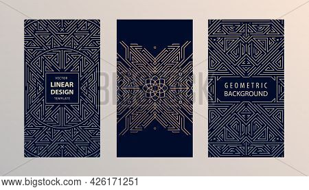 Vector Set Of Monogram Design In Trendy Vintage And Mono Line Style With Space For Text - Abstract G