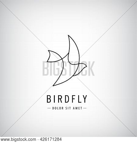 Vector One Line Bird Logo, Flying Silhouette, Continuous Monoline Concept, Abstract Icon, Sign Isola