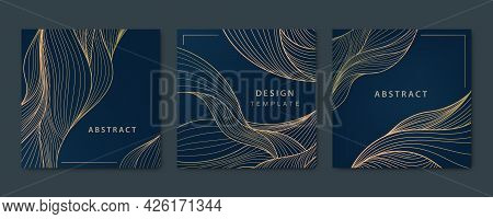 Vector Set Of Abstract Luxury Golden Square Cards, Post Templates For Social Net, Wavy Line Art Back