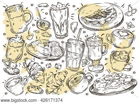 Hand Drawn Line Vector Illustration Food And Drink Menu On White Board. Doodle Coffee And Desserts C