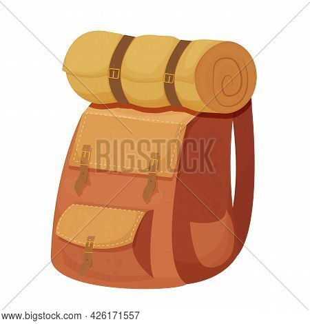 Camping Backpack, Knapsack With Sleeping Bag In Cartoon Style Isolated On White Background. Bag For