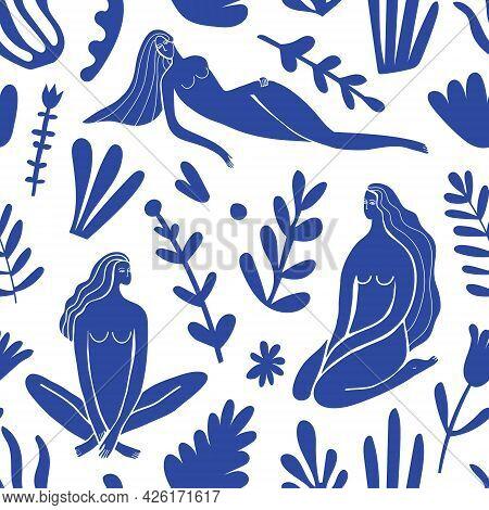 Vector Abstract Feminine, Women Figures Illustration Seamless Pattern. Matisse Inspired Blue Nature