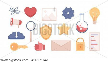 Set Of Science And Laboratory Cartoon Icons For Web Interface. Symbols Of Lightbulb, Gear, Lab Flask