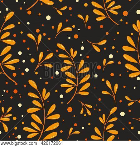 Orange Autumn Leaves On A Black Background, Vector Pattern. Seamless Background With Beautiful Falle