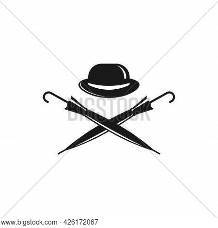 Bowler Hat And Crossed Cane Umbrellas. Vintage Gentleman Club Logo. Vector Illustration Isolated On