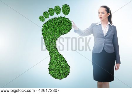 Ecology concept with green footprint and businesswoman