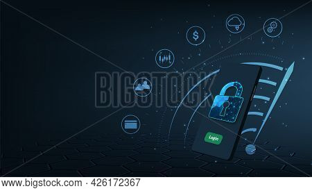 Mobile Transactions Security Concept.smartphone With Padlock  Lock On Dark Blue Background. Internet
