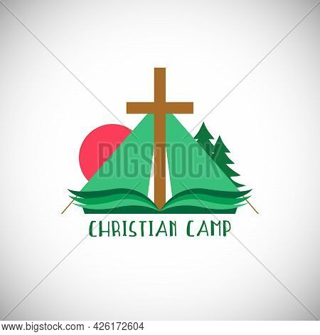 Christian Church Mission Concept. Religious Cross, Open Book With Green Pages And Camping Tent Sign.
