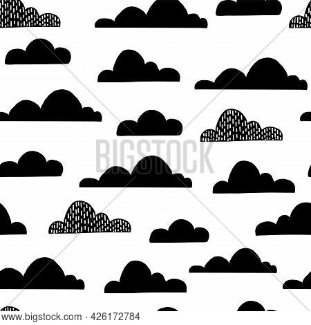 Cloud Seamless Pattern For Children Nurcery Room. Funny Child Sky Print