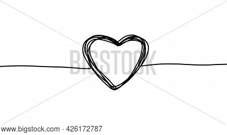 Continuous Line Heart. Thin Line Art. Simple Trendy Scribble Hand Drawn Shape. Illustration