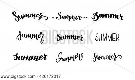 Summer Lettering. Hand Drawn Lettering. Calligraphy For Poster, Background, Postcard, Banner, Window