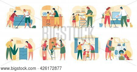 Home Cleaning. Family With Kids Clean House Together. People Washing Dishes, Vacuuming Floor, Wiping