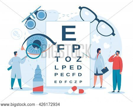 Ophthalmology. Ophthalmologist Checking Patient Eyesight. Myopia Diagnostic And Treatment. Eye And V