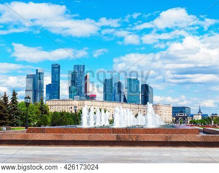 Moscow, Russia - May 24, 2021: Fountain Complex In Victory Park And View Of The Moscow International