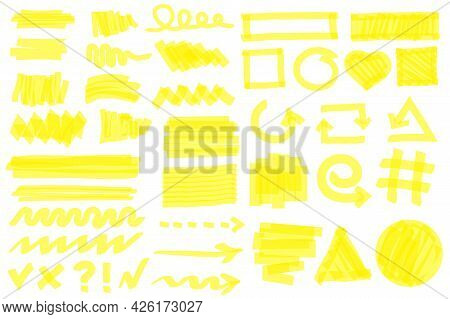 Highlighter Strokes. Yellow Marker Lines, Strokes, Arrows, Frames, Circles, Checkmarks. Hand Drawn P