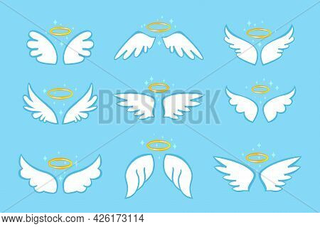 Cute Angel Wings. Holy Angelic Wing With Gold Nimbus. Flat Cartoon Magic Bird Or Angels Feathers Wit