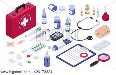 Isometric First Aid Kit. Healthcare Medical Equipment Bandage, Tablet, Pill, Syringe, Spray, Stethos