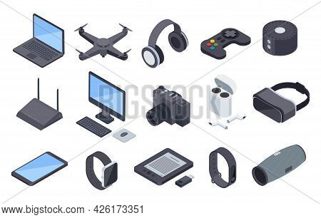 Isometric Gadgets. Electronic Wireless Technology Devices. Drone Headphones, Smartwatch Vr Headset,