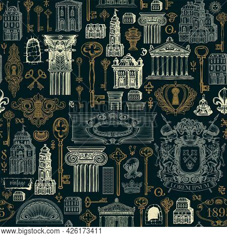 Hand-drawn Seamless Pattern On The Theme Of Ancient Architecture And Art. Vector Background With Vin