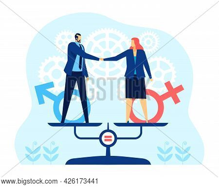Gender Equality. Business Man And Woman Standing On Balance Scales. Equal Rights, Opportunities In W