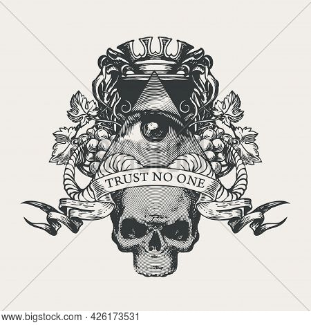 Vector Coat Of Arms With Masonic Symbol All-seeing Eye Of God, Crown, Grapes, Rams Horns And Siniste