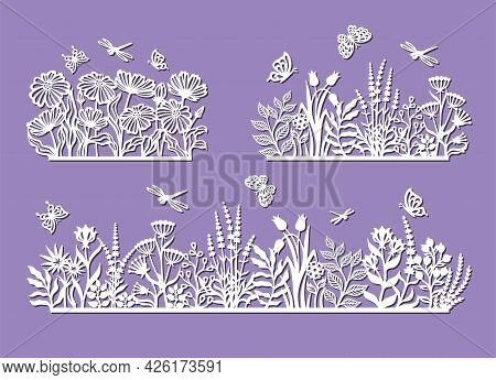 Set Of Silhouettes Of A Flower Meadow. Flowerbed, Field, Garden With Herbs, Plants, Leaves, Chamomil