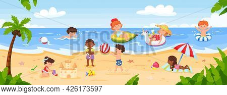 Kids Playing At Beach. Happy Children Playing At Seaside, Swimming In Ocean, Building Sandcastle. Su